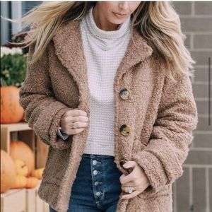 Chestnut Brown Free People So Soft Cozy Peacoat